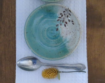 Shallow Bowl Set of 2 - Handmade Stoneware Ceramic Pottery - Blue Celadon and White - Branch - 6 ounce