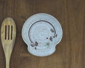Spoon Rest - Handmade Stoneware Ceramic Pottery - White - Ginkgo