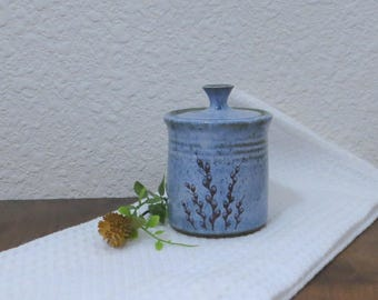 Teeny Wee Canister Jar - Handmade Stoneware Ceramic Pottery - Willow - 8 Ounce