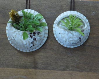 Teeny Wee Air Planter Set of 2 - Handmade Stoneware Pottery Ceramic - White - Vines