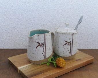 Sugar and Creamer Set - Handmade Stoneware Ceramic Pottery - White and Blue Celadon - Bamboo - 10 ounce