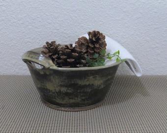 Serving Bowl - Handmade Stoneware Pottery Ceramic - Burnt Iron Brown and Birch Brown - 1-3/4 Quart