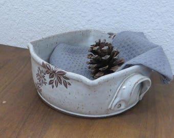 Casserole Baking Dish - Handmade Stoneware Pottery Ceramic - White - Floral - 1-1/2 Quart