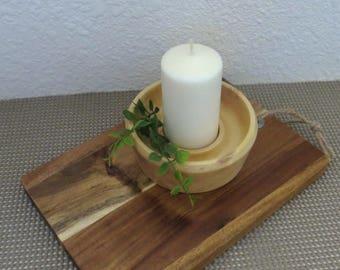 SALE - Cande Holder - Hand Turned Wood - Box Elder