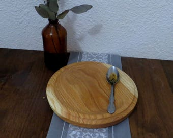 Lunch Snack Plate - Hand Turned Wood - Oak