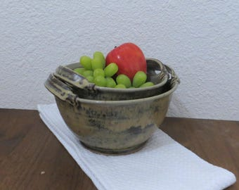 Handled Serving Bowl Set - Handmade Stoneware Ceramic Pottery - Burnt Iron Brown and Birch Brown - 1-1/2 and 1 Quart
