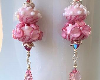 Swarovski Crystal and Pink Flower Lampwork Beaded Dangle Earrings handmade srajd  holiday feminine ready to ship