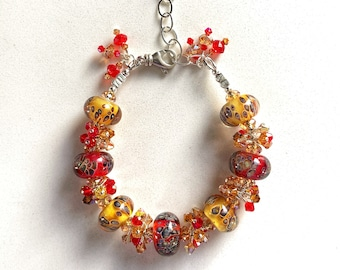 Swarovski Crystal and Lampwork Beaded Bracelet ooak handmade ready to ship Christmas gift
