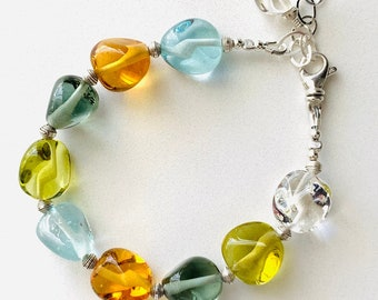 Lampwork and Sterling Silver Beaded Bracelet gift holiday srajd handmade glass fall colors jewelry