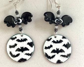Swarovski Crystal and Enameled Lampwork Beaded Dangle Bat Halloween Earrings ooak handmade ready to ship