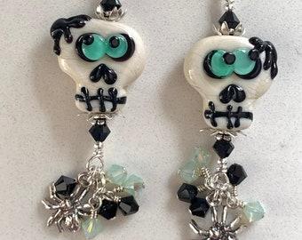 Swarovski Crystal and Lampwork Beaded Skull With Spiders Dangle Earrings handmade ooak ready to ship srajd halloween
