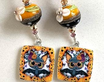 Swarovski Crystal Porcelain Tab Lampwork Beaded Dangle Earrings ooak handmade ready to ship srajd halloween day of the dead bats