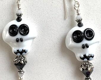 Swarovski Crystal and Lampwork Beaded Skull Dangle Earrings handmade ooak ready to ship srajd halloween day of the dead