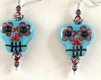 Swarovski Crystal and Lampwork Beaded Dangle Skull Halloween Earrings ooak ready to ship handmade srajd spooky day of the dead flowers