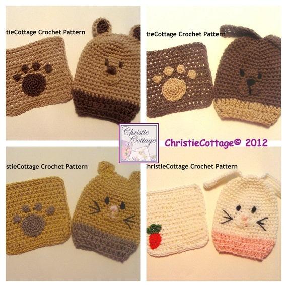 Animal Washcloth And Bath Mitt Set Of 8 Crochet Patterns Pdf Etsy