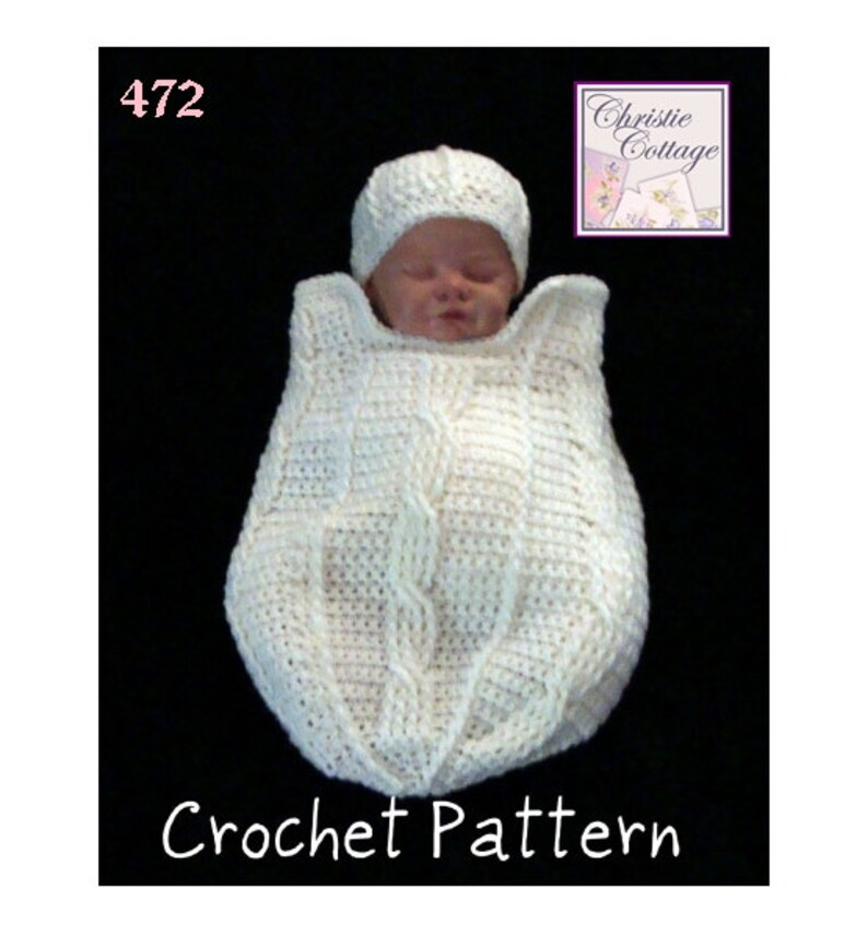 Fisherman Cable Newborn Cocoon and Hat Set Crochet Pattern image 0