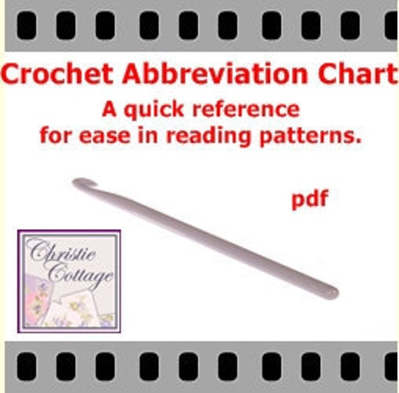crochet stitch abbreviations chart for ease in using advanced etsy