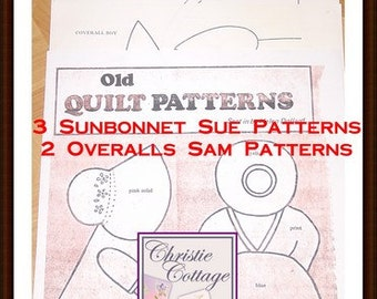 Sunbonnet Sue and Overall Sam Quilt Pattern Vintage 5 patterns PDF