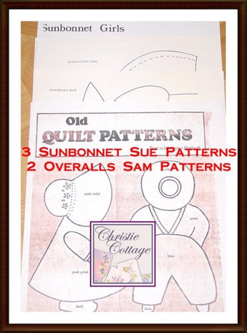 Sunbonnet Sue and Overall Sam Quilt Pattern Vintage 5 patterns image 0