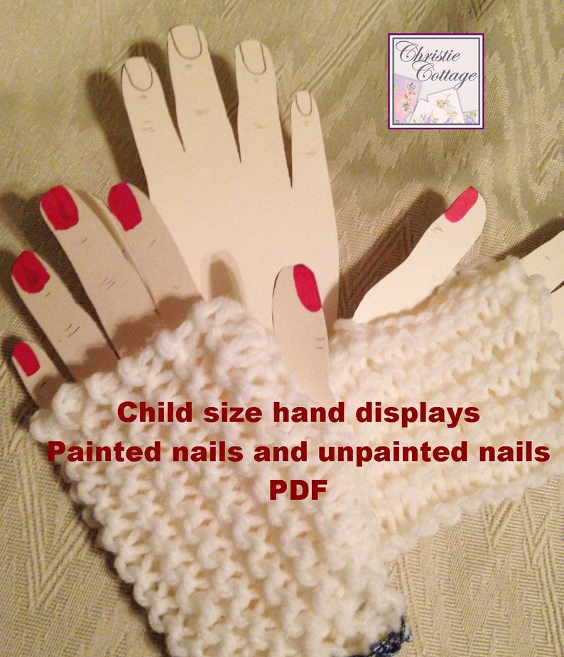 Children's Size Hand Displays for Fingerless Gloves. PDF. image 0