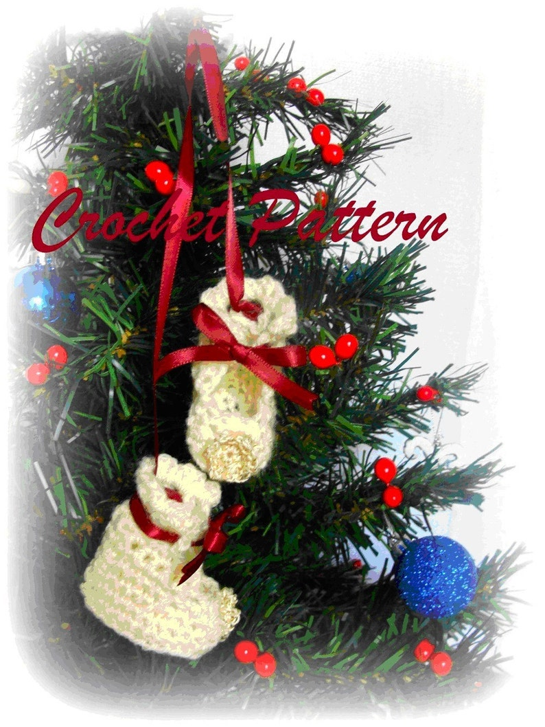 Baby Bootie Doll  Christmas Ornament Crochet Pattern. PDF image 0