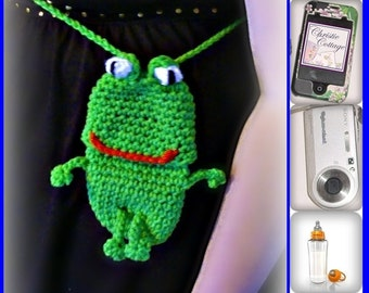 Frog Cell Phone Pouch,(Camera, bottle case, cozie, holder) Crochet Pattern PDF 007 - Not a finished product
