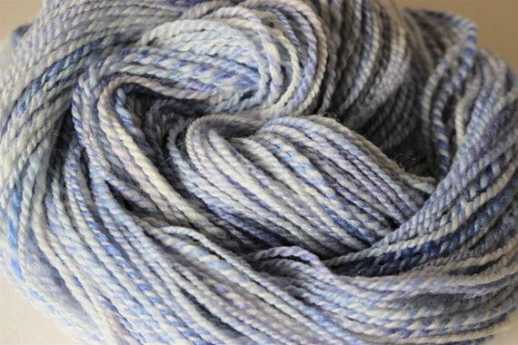 Handspun Merino wool silk 2 ply Cloudy Sky