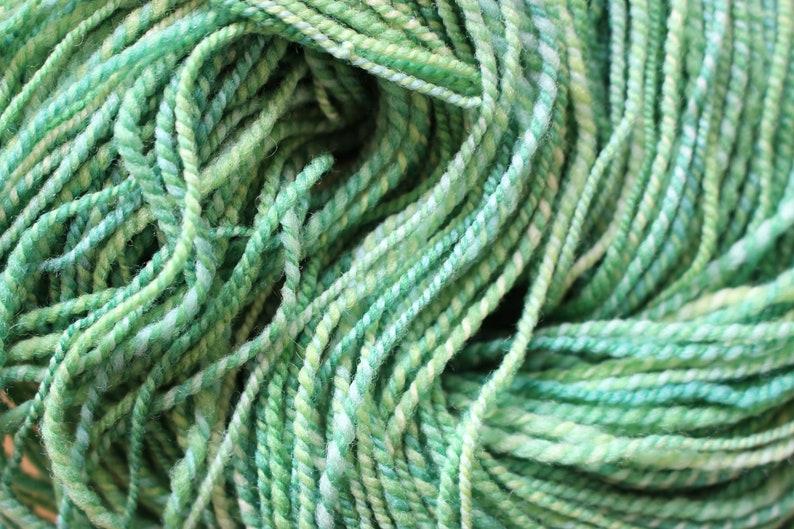 Hand spun 2ply wool yarn Spring Green