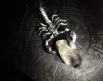 Crystal Jewelry Crystal Necklace,Witch Jewelry Crystal Point Necklace Scorpion Pendant Spiritual Jewelry pagan jewelry Raw Crystals