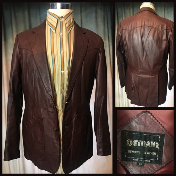 Mens Vintage Brown Leather Jacket, Size 40 Mens L… - image 1