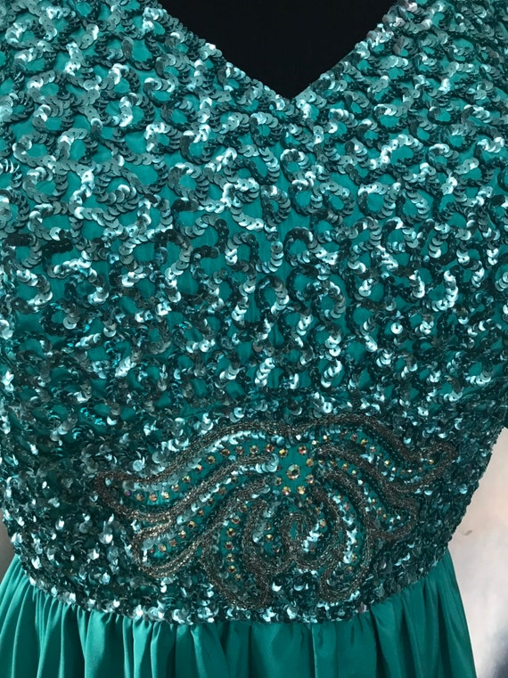 Vintage Gown, Turquoise Gown, 1960s formal dress,… - image 3