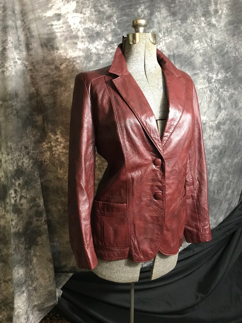 21c29d269e59f Womens Vintage Leather Blazer Womens Leather Jacket Womens