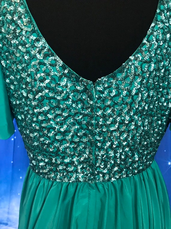 Vintage Gown, Turquoise Gown, 1960s formal dress,… - image 4