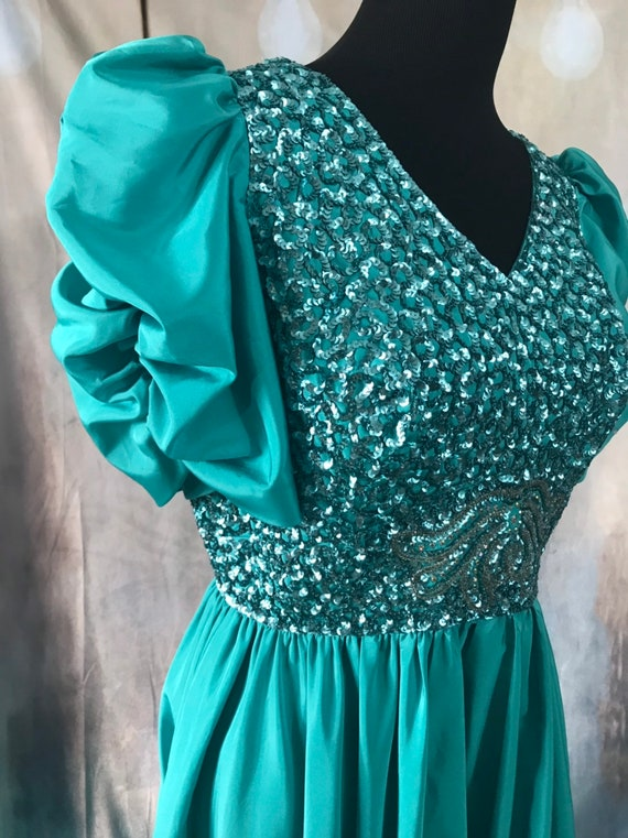Vintage Gown, Turquoise Gown, 1960s formal dress,… - image 5