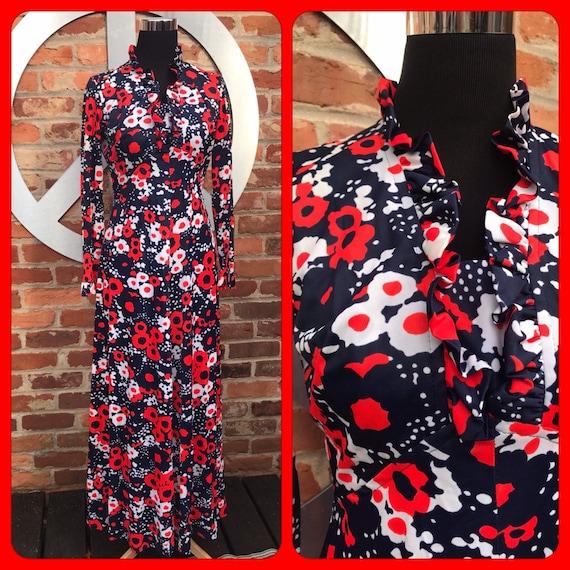 Vintage 60s Dress, 60s psychedlic dress, 60s maxi