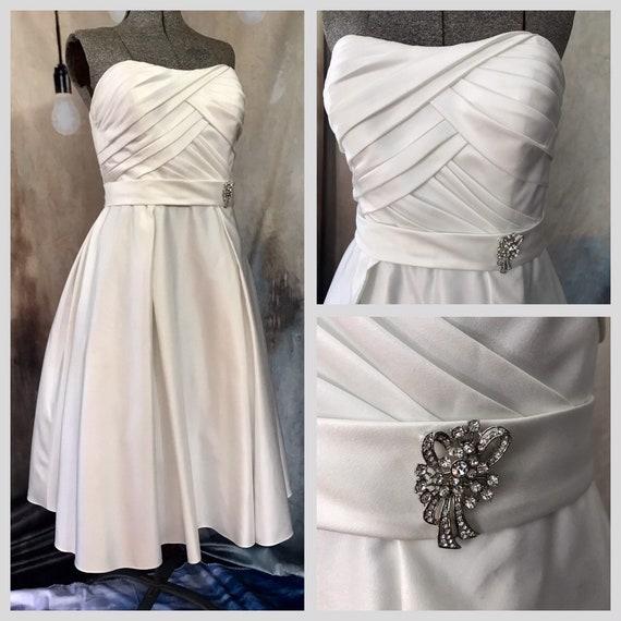 Vintage Wedding Dress, Size 14 Wedding Dress, Whit