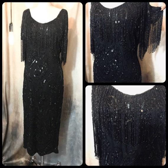 Vintage Beaded Dress, Vintage Silk Beaded Dress, B