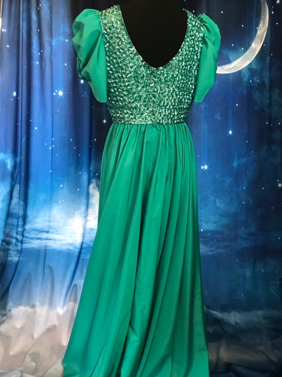 Vintage Gown, Turquoise Gown, 1960s formal dress,… - image 8