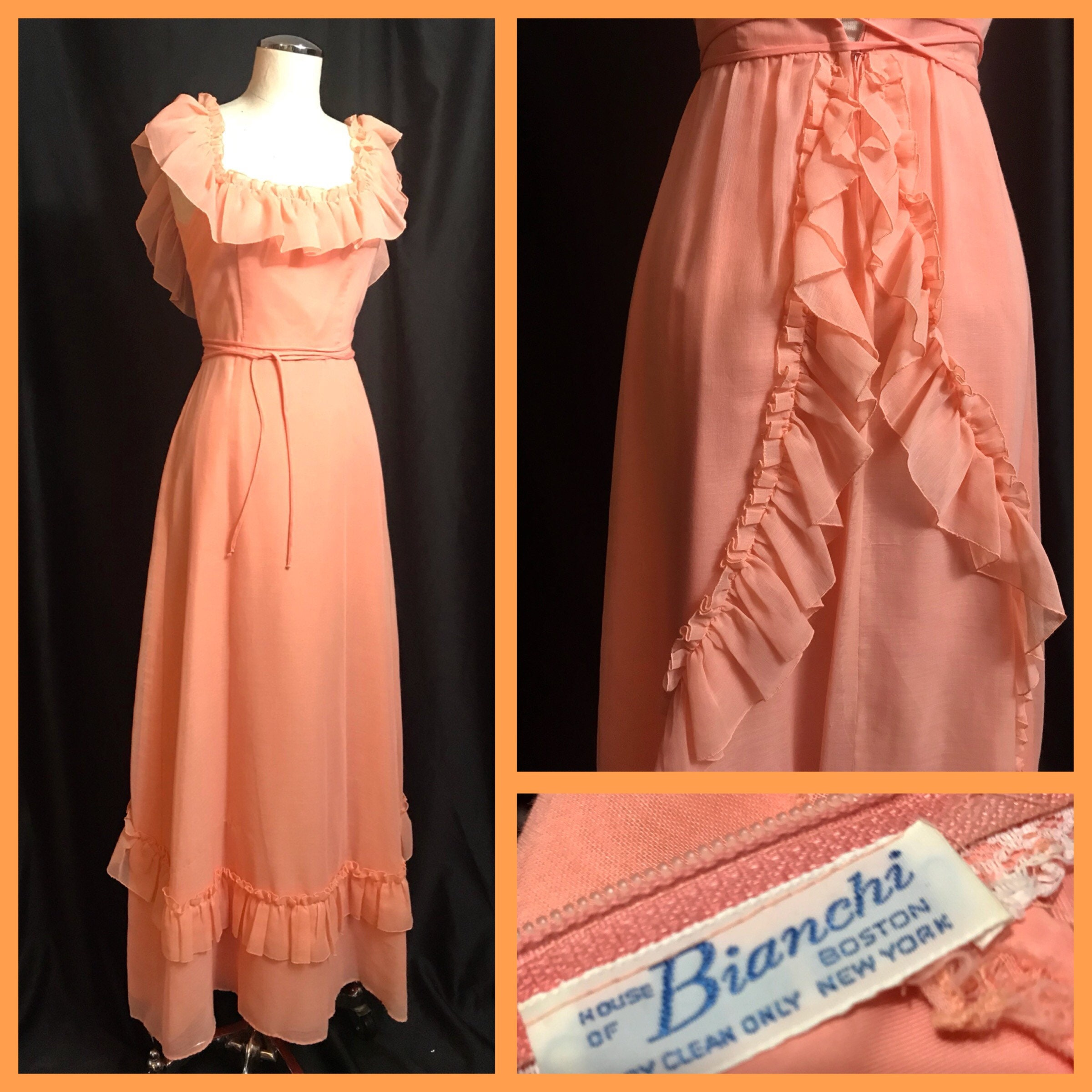 1e5669051e Vintage 60s Dress Chiffon Maxi Dress Peach Vintage Dress