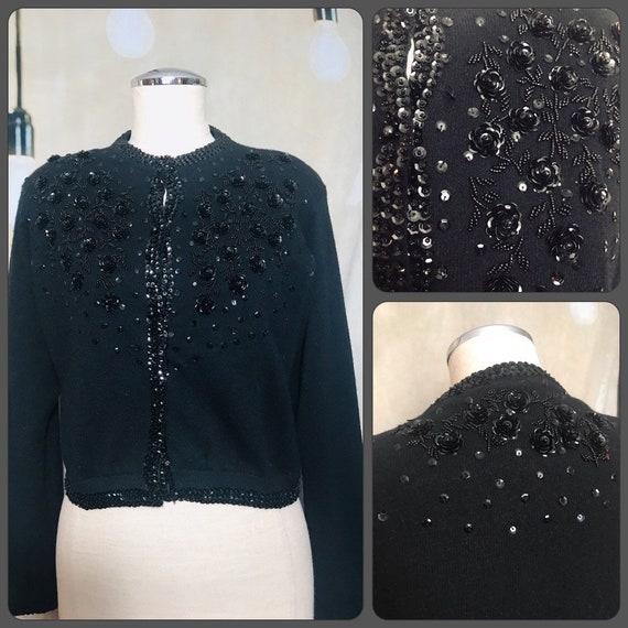 Vintage Black Sequin Cardigan, Vintage Cardigan, M