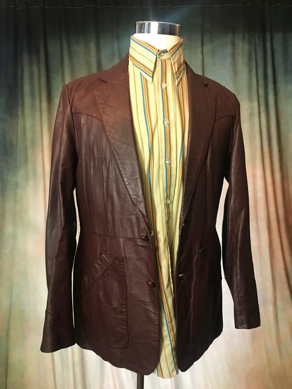 Mens Vintage Brown Leather Jacket, Size 40 Mens L… - image 10