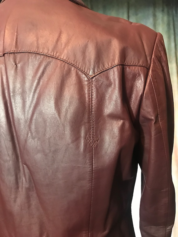 Mens Vintage Brown Leather Jacket, Size 40 Mens L… - image 6