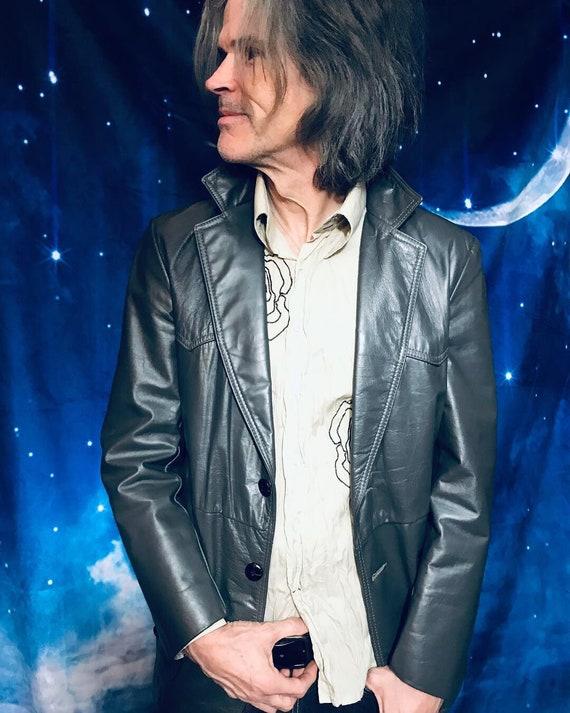 Mens Vintage Leather Jacket, Size 40 leather jacke