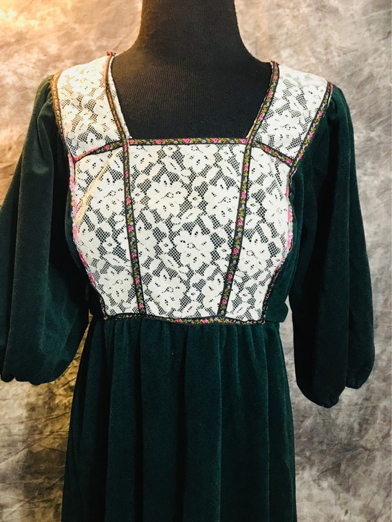 Vintage Prairie Dress/Green Velour Dress / Size Sm