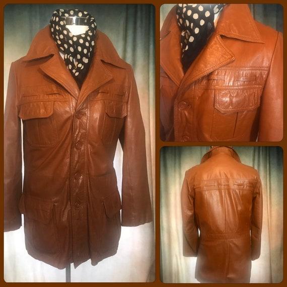 Mens Vintage 70s Leather Jacket, Size 38 Mens leat