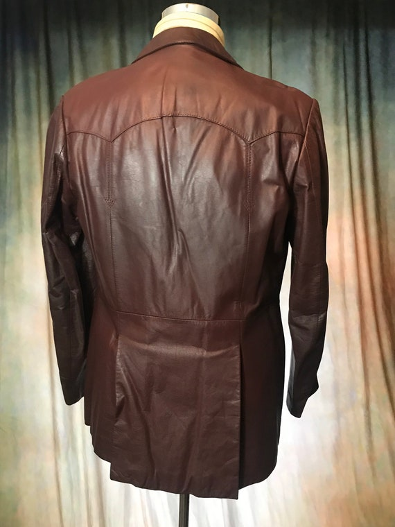 Mens Vintage Brown Leather Jacket, Size 40 Mens L… - image 3