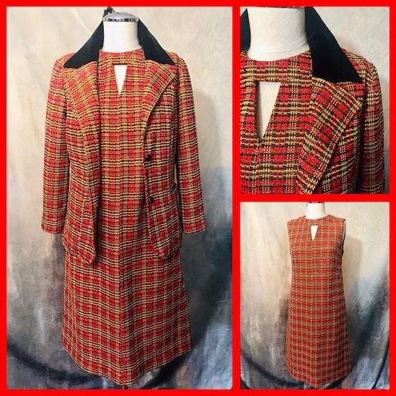 2 Piece 60s MOD Coat and Dress Set, 1960s Dress Se