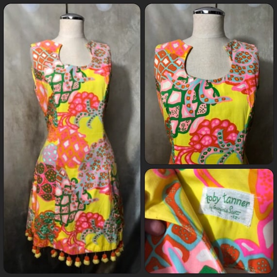 Vintage 60s Psychedelic Dress, 60s Dress, Scooter