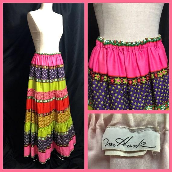 Vintage Maxi Skirt, Vintage Prairie Skirt, Vintage