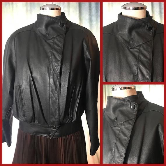 80s Black Leather Jacket, Womens Vintage Leather J